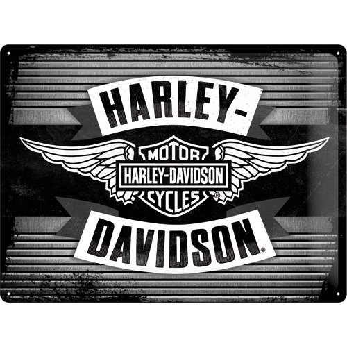 Harley Davidson Wings Logo Large Embossed Metal Sign 16'' x 12'' (Nostalgic Art 23189) by Harley-Davidson