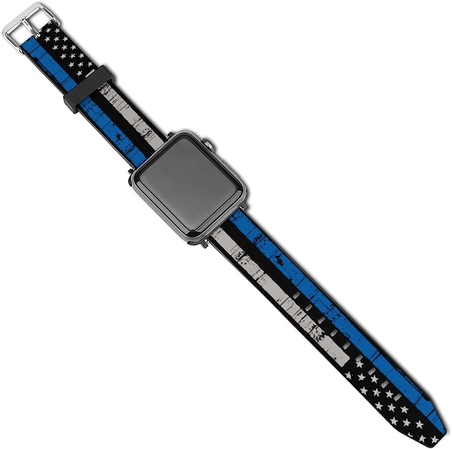 Thin Blue Line Police Law Enforcement Compatible with Apple Watch Sport Bands 38mm 40mm 42mm 44mm , iWatch 6 5 4 3 2 1 Series Leather Printed Strap Soft PU Watch Bands