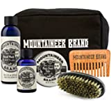 Canvas Dopp Beard Care Kit by Mountaineer Brand: All-Natural, Complete Beard Care in one Kit (Timber) Includes: Beard Oil, Beard Balm, Beard Wash and Beard Brush with Canvas Dopp Bag & FREE Beard Comb