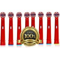 Drkao 8 Pack Toothbrush Heads Children Toothbrush Heads Kids Made with Dupont Nylon Electric Toothbrush Heads for Children Standard for Oral b Electric Toothbrush Heads Kids 8 Pack EB-10A (8)