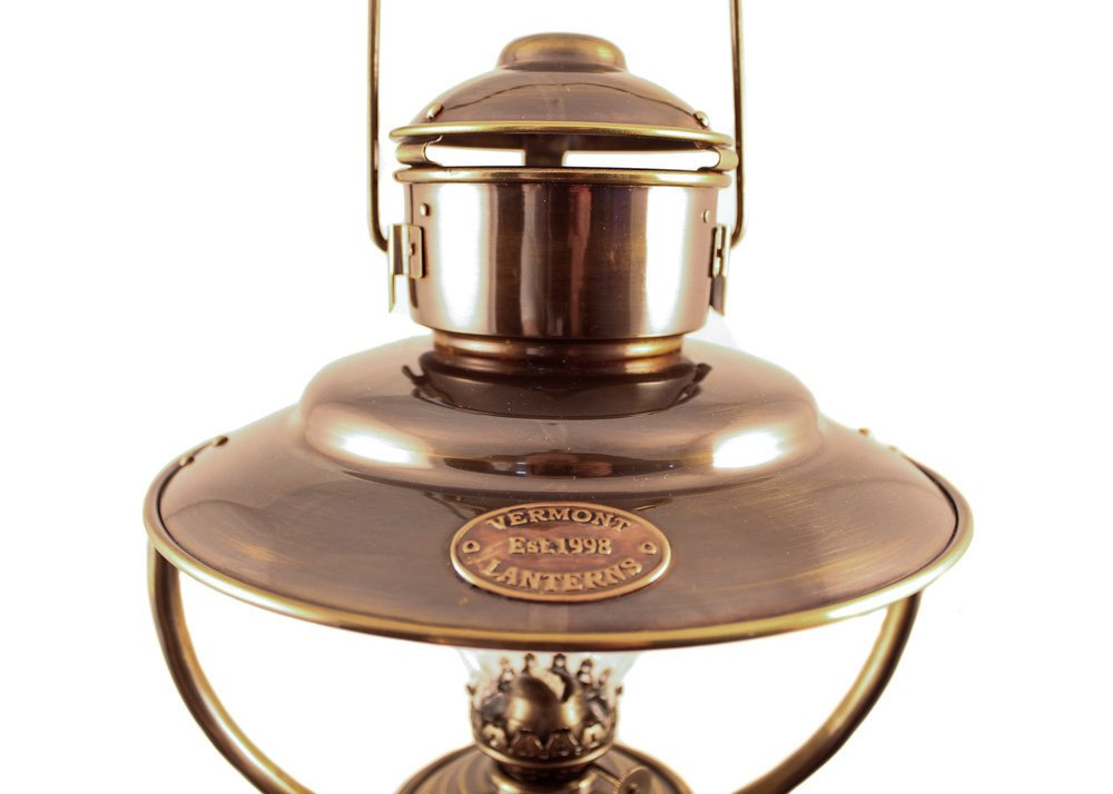 Vermont Lanterns Nautical Trawler Table Oil Lamp with Stand - 23'' (Antique Brass) by Vermont Lanterns