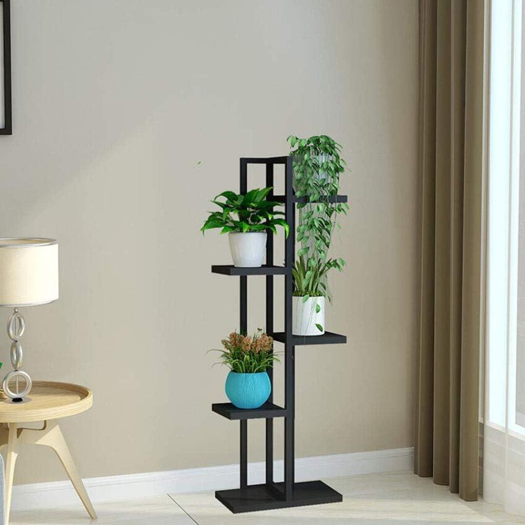 花は屋内屋外温室パティオNaturalの5つの階層フロアソリッドウッド棚で頑丈な耐久性のある木製ディスプレイラックスタンド (Color : Black frame-blackboard)