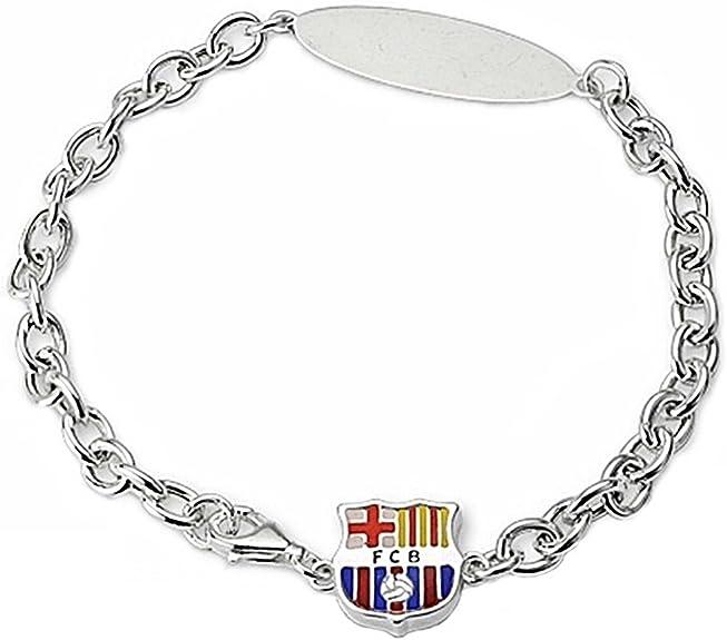 Pulsera escudo F.C. Barcelona Plata de ley chapa 22cm. [6944GR] - Modelo: 10-105 - Personalizable - GRABACIÓN INCLUIDA EN EL PRECIO: Amazon.es: Joyería