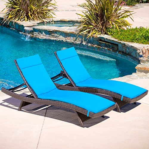 Lakeport Outdoor Adjustable Chaise Lounge Chairs w Blue Colored Cushion Set of 2