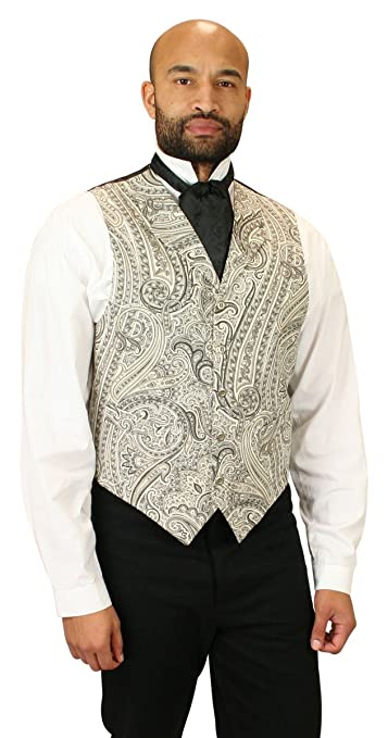 Men's Vintage Vests, Sweater Vests Vickers Cotton Paisley Dress Vest Historical Emporium Mens $59.95 AT vintagedancer.com