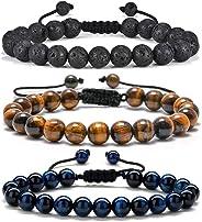 Tiger Eye Mens Bracelet Gifts - 8mm Tiger Eye Lava Rock Stone Mens Anxiety Bracelets, Stress Relief Adjustable Tiger Eye Bra