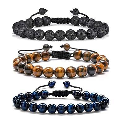 Mens Bracelet Lava Gifts for Men - 8mm Tiger Eye Lava Rock Stone Mens Yoga Healing Bracelet, Stress Relief Adjustable Lava Rock Aromatherapy Essential ...