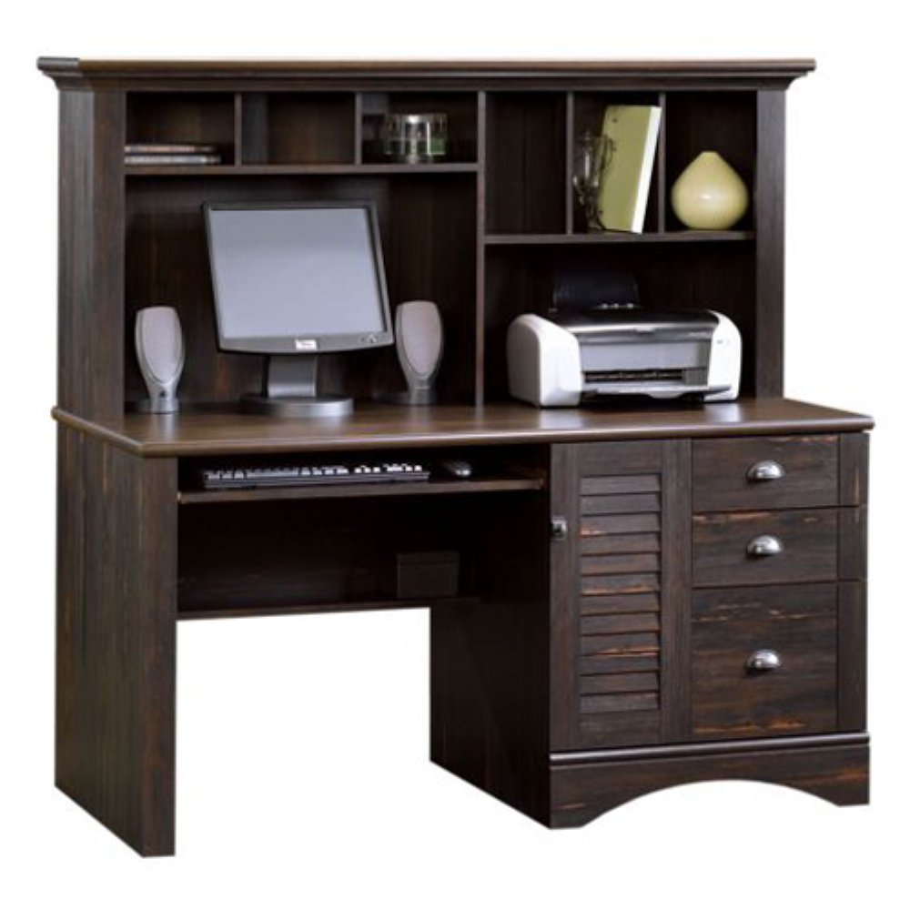 amazoncom harbor view computer desk with hutch antiqued paint finish kitchen u0026 dining