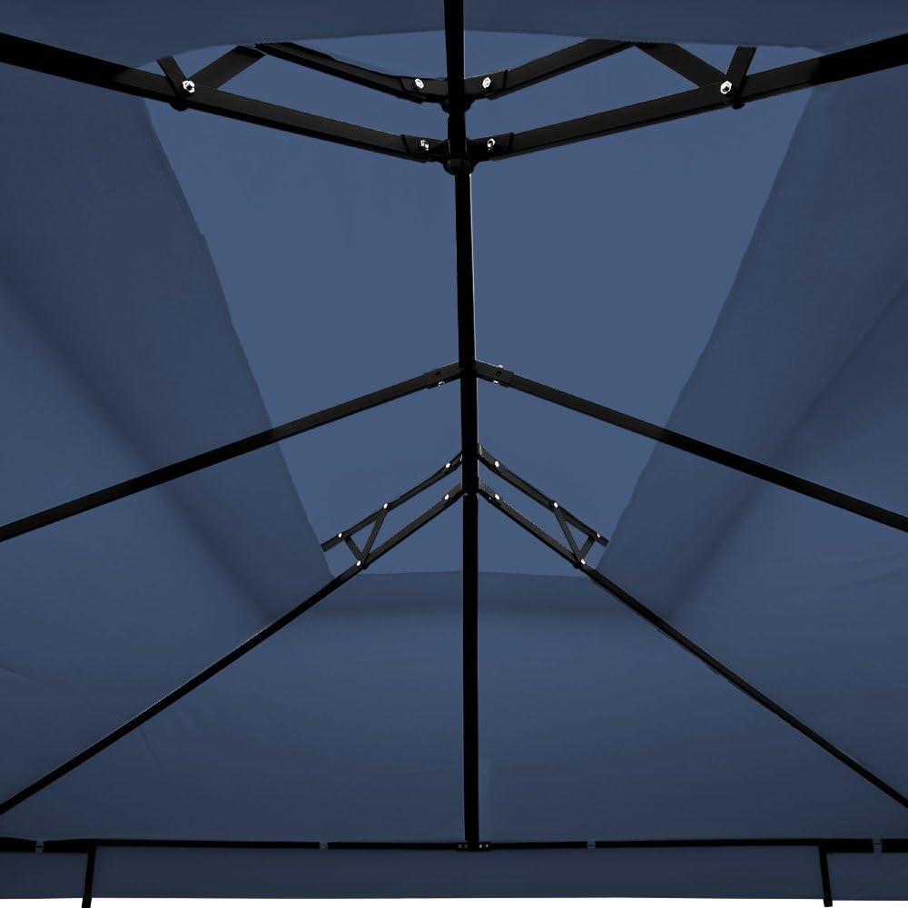 Deuba Gazebo da Giardino Elda 3x4 Doppio Tetto Poliestere Protezione UV50 12m/² tendone Padiglione Esterno Patio Feste Matrimonio Blu