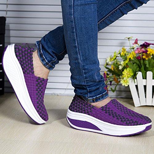Frau Beiläufig Turnschuhe Weberei Shake Schuhe für Damen Laufen Lila