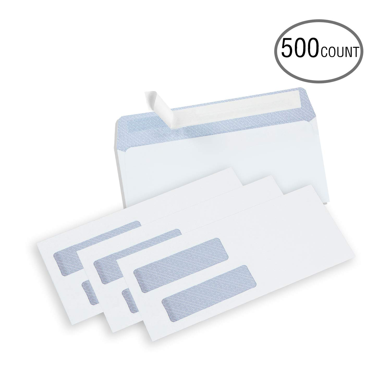 Case of 24 Boxes, 500 Packs per Box, Ohuhu #8 Double Window Envelope SELF Seal Adhesive Tinted Security Envelopes Quickbooks Check, Business Invoice Check, Documents Secure Mailing, 3 5/8'' x 8 11/16'' by Ohuhu