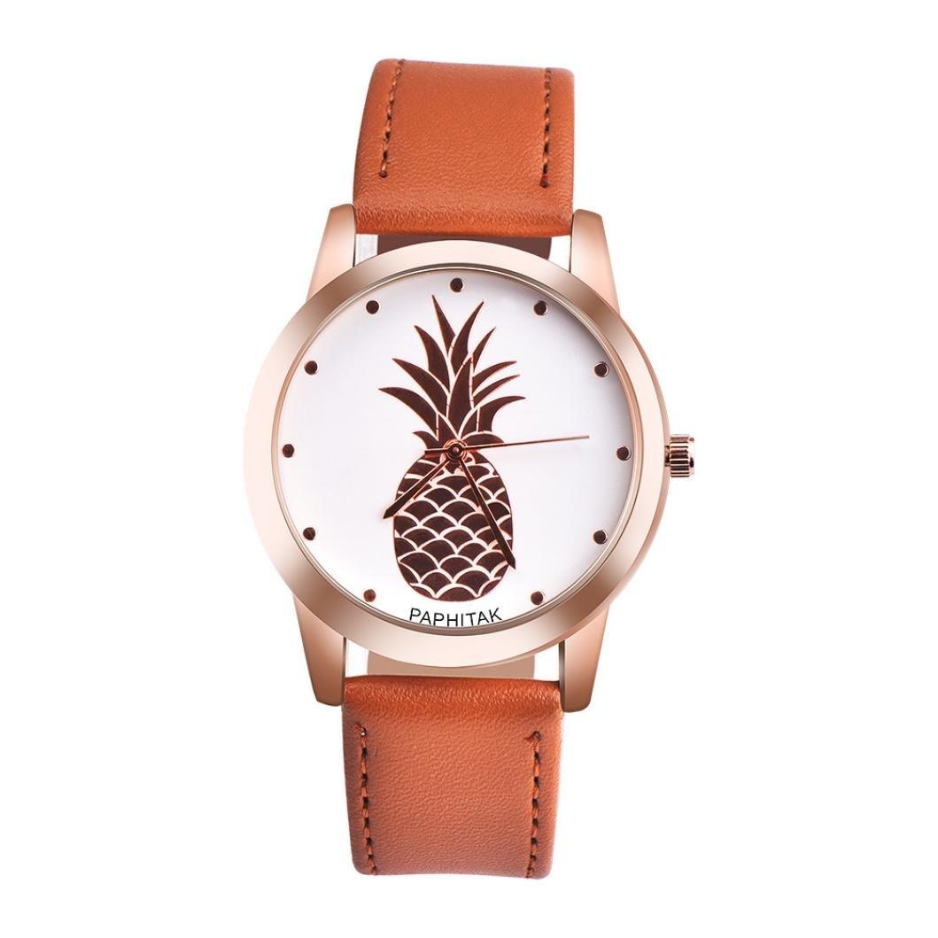 ZLOLIA PAPHITAK Womens Men Pineapple Faux Leather Analog Quartz Watch