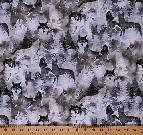 Cotton Wolf Wolves Animals Wildlife Nature Forest Trees Moon Into the Woods II Gray Scenic Cotton Fabric Print by the Yard (Wolf Fabric)