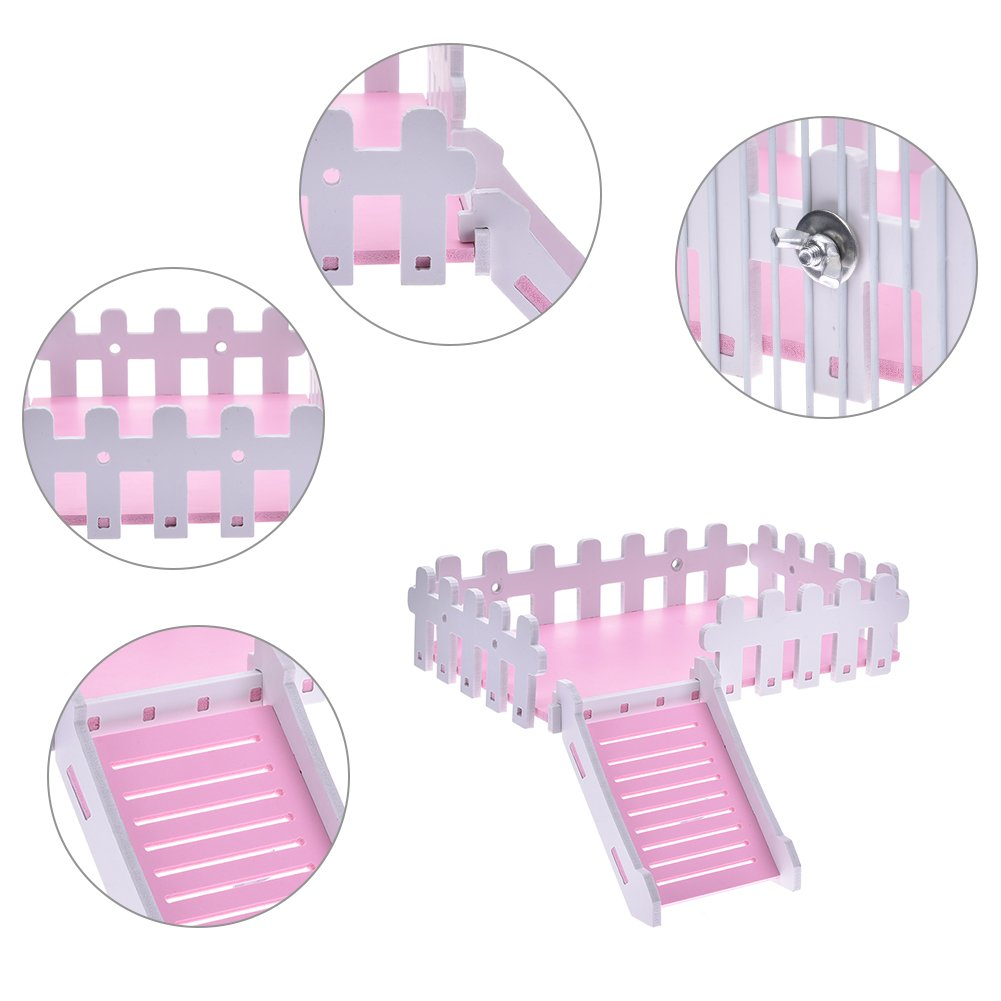 Yunt Pet Toy Platform Cute Climbing Kits Hamster Crawling Ladder Swing Platform Toys for Hamster Hedgehogs Totoro Squirrel Pink by Yunt (Image #3)