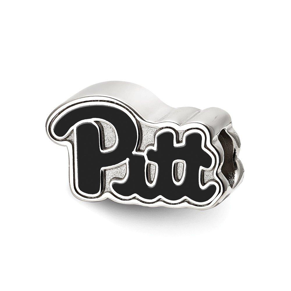 Sterling Silver Sterling Silver LogoArt University of Pittsburgh Pitt Script Enameled Logo