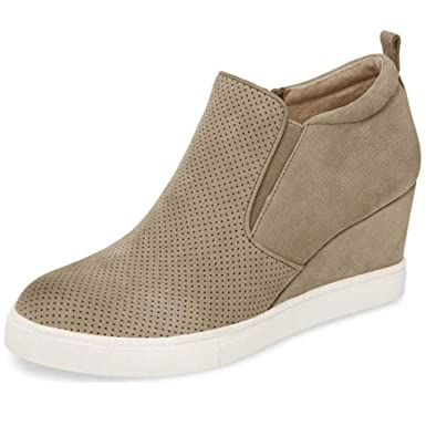 1de1d096cedf Nailyhome Womens Sneakers Wedges High Top Side Zipper Slip On Platform  Sneakers (10.5 B(