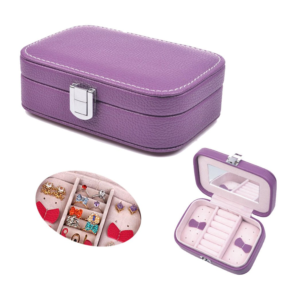 Prime Clearance Sale & Deals Day 2017-Valentoria Jewelry Box Organizer Display Storage Case Jewelry Case Holder for Travel Home Use (Romantic Purple)