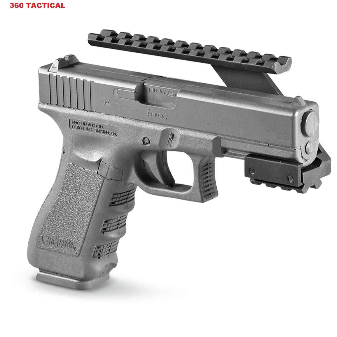 360 Tactical Pistol Rail Front Machined Aluminum No Gunsmithing Weaver Picatinny Top & Bottom Rail Pistol Handgun Scope Mount for Sights, Lasers, Lights & Accessories Pistol Front Rail