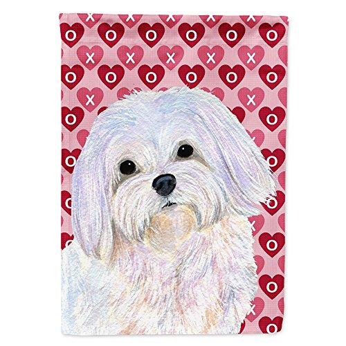 Caroline's Treasures SS4482GF Maltese Hearts Love and Valentine's Day Portrait Flag, Small, Multicolor
