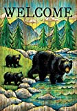 """"""" Welcome Black Bears - Mother and Cubs """" - Garden Size, 12 Inch X 18 Inch, Decorative Double Sided Flag"""