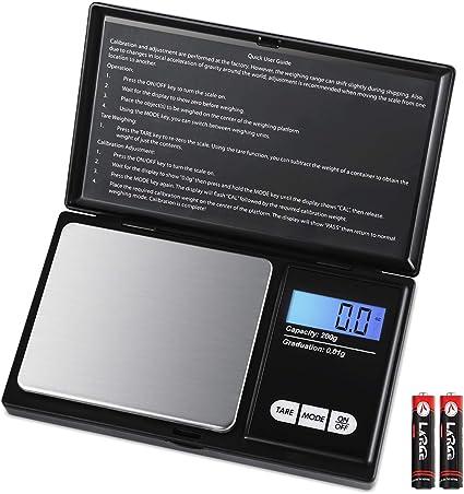 AMIR Báscula Digitales de Precisión, 200g / 0.01g Balanzas de ...
