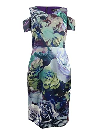 dc550046b821 Tahari by ASL Women's Cold Shoulder Technicolor Floral Dress Navy/Berry/Sage  6