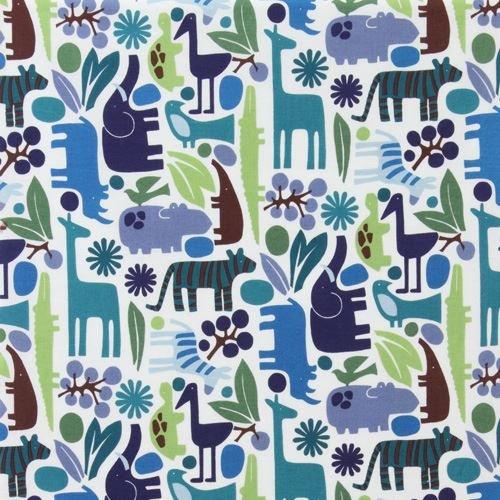 2d Zoo (Off-white cute teal dark blue animal knit fabric Alexander Henry 2D Zoo (per 0.5 yard unit))