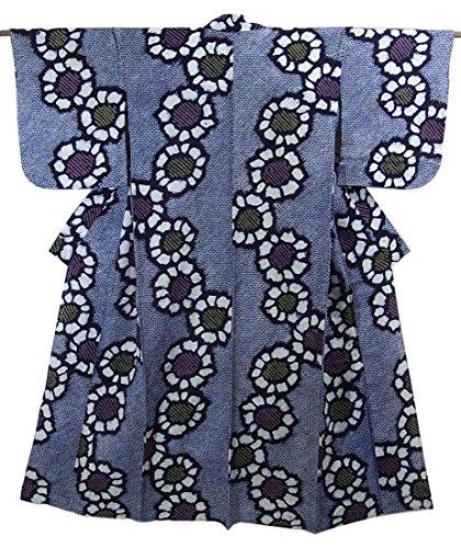 ただファランクス保守可能リサイクル 浴衣 綿 絞り 菊の花模様 裄63cm 身丈149cm