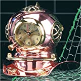 Bey-Berk International Copper and Brass Divers Helmet Clock For Sale