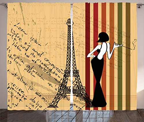 Ambesonne Paris City Decor Collection, Grunge Background Classical Glamor Woman with Cigarette Fashion Pattern Retro Art, Living Room Bedroom Curtain 2 Panels Set, 108 X 90 Inches, Red Orange Green