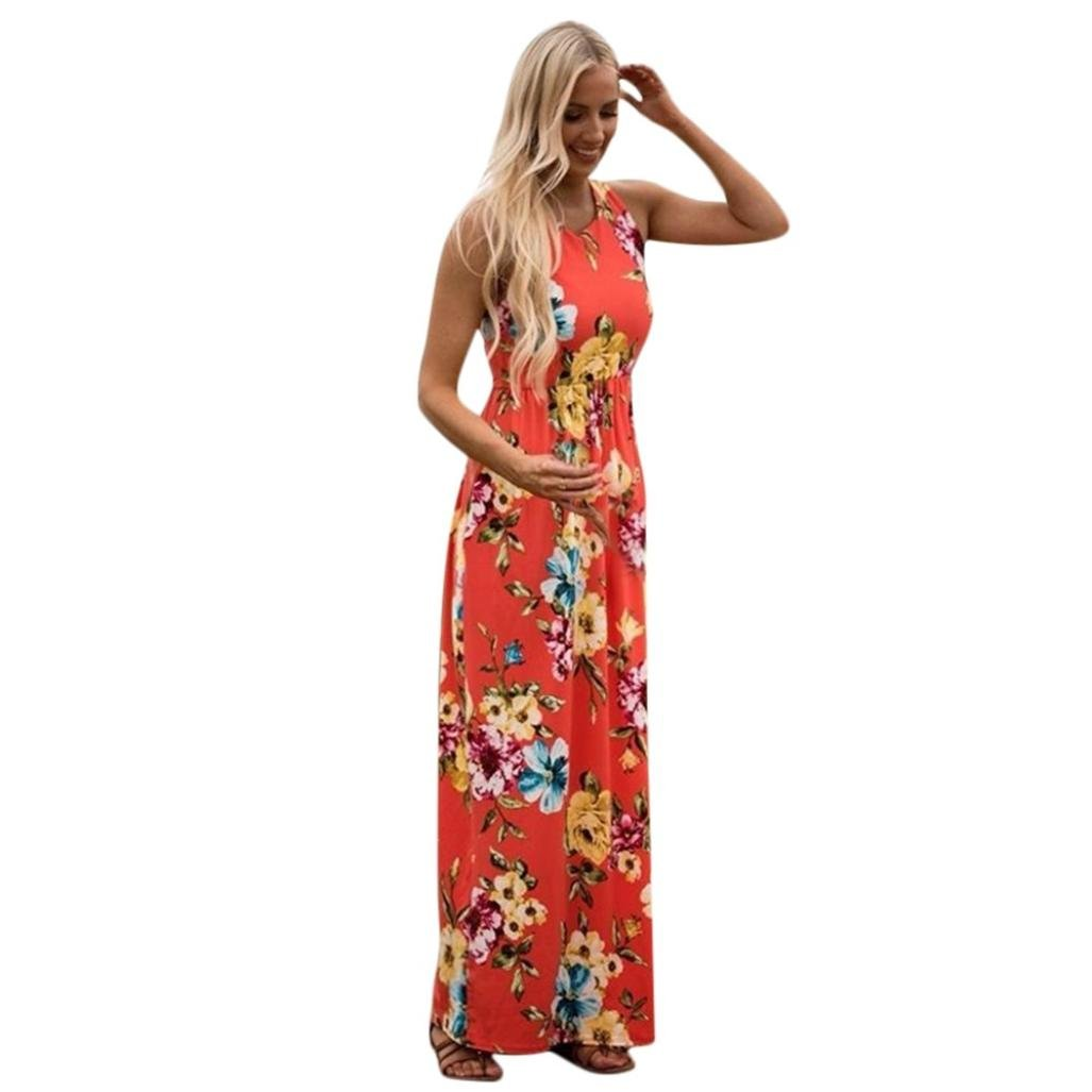 Scaling ♥Floral Maxi Girls Dresses, Mother Child Girl Huaiyin Princess Dress Casual Family Dress Long Skirt Floral (Watermelon Red for Women, XL)