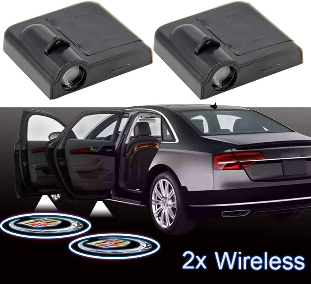 Poiuy 2Pcs Wireless LED Door Welcome Light Ghost Shadow Projector Logo For Cadillac