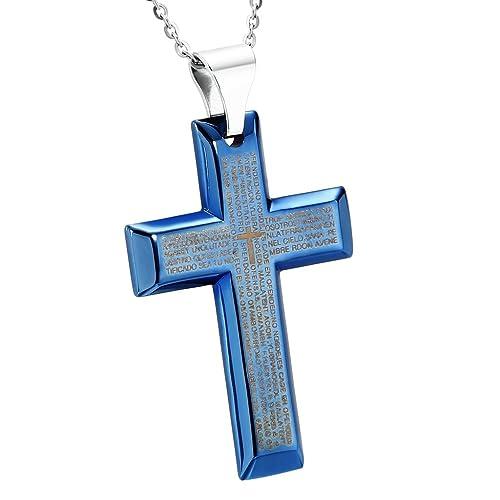 AnazoZ Joyería de Moda Collar Colgante de Hombre Acero Inoxidable Cruz Oración del Señor Azul Collar Colgante Para Hombre,Tamaño 4.1x6CM Color Azul: AnaZoz: ...