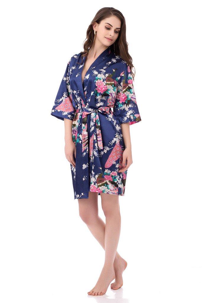gusuqing Women's Printing Peacock Kimono Robe Short Sleeve Silk Bridal Robe Navy S