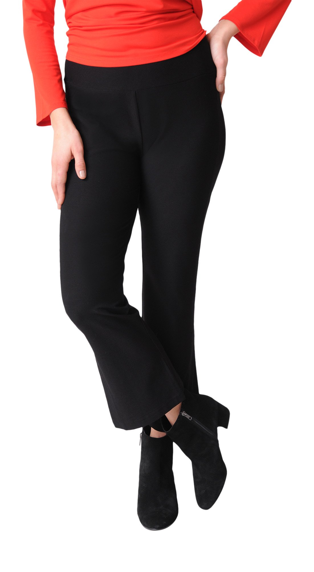 Eileen Fisher Washable Stretch Crepe Ankle Flare Pant (XS, Black)