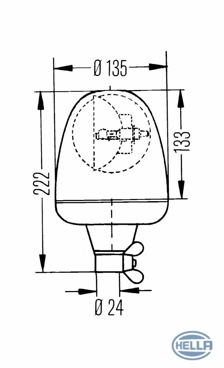 Hella 006846001 KL Rotaflex FL Rotating Beacon Amber Lens 12v by HELLA