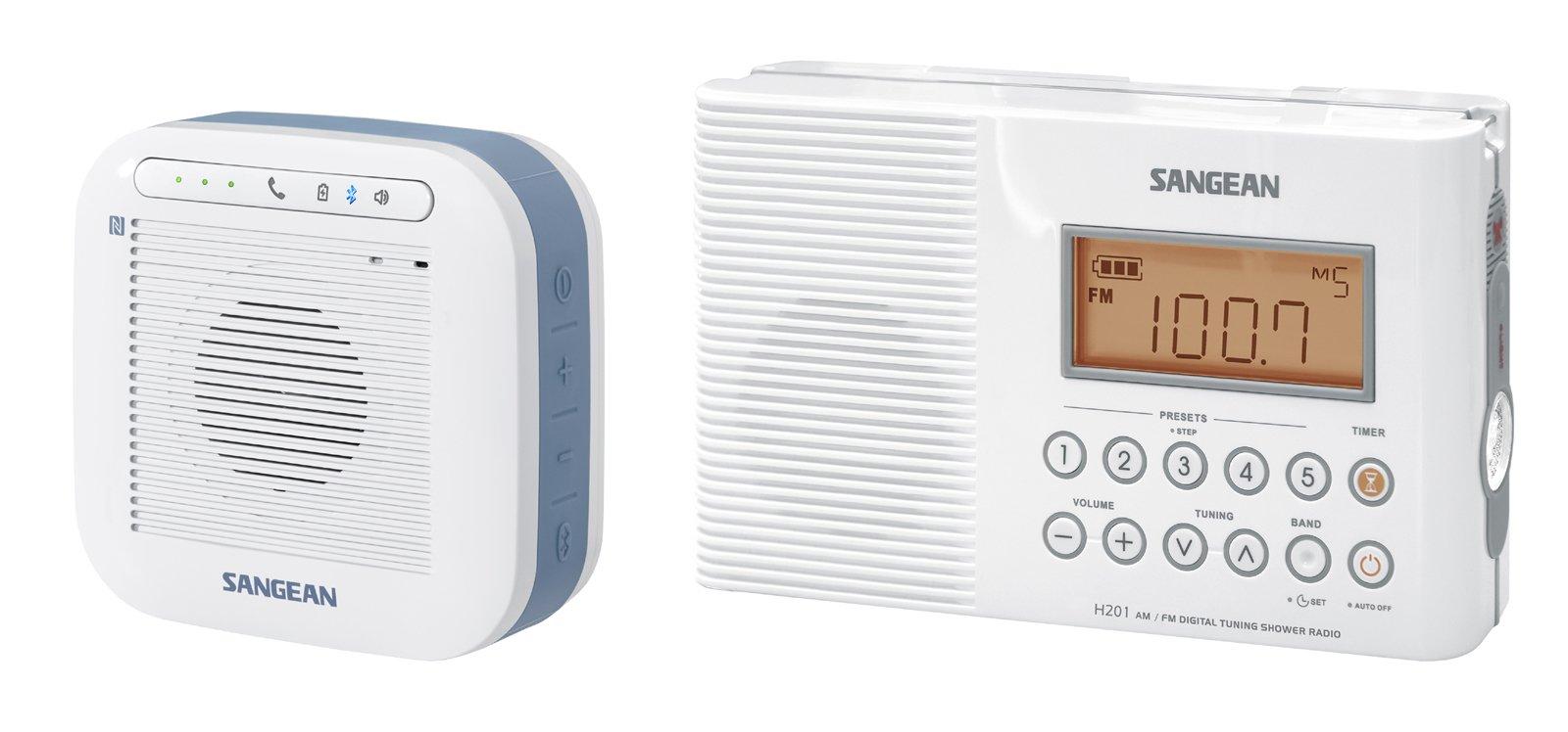 Sangean H201P Portable Waterproof Bluetooth Speaker and Waterproof/Shower Radio, White by Sangean