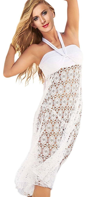 La vogue Damen Strandkleid Neckholder Tuch Kleid Lange Sommer Rock
