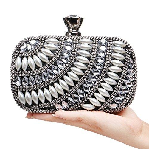 Bolso de noche de señora Nightclub bolso de embrague de diamantes de lujo de las mujeres (Color : Silver) Black