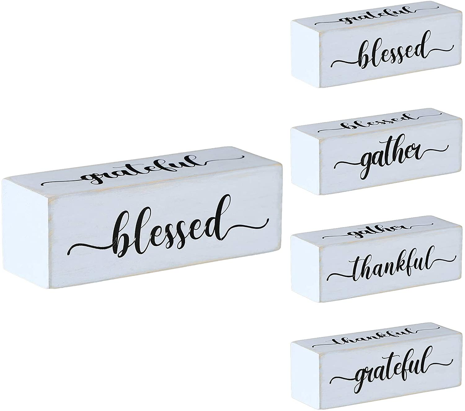 Four-Sided Inspirational Block Sign Rustic Wooden Blessed Gather Thankful Grateful Sign Tabletop Block Decor for Office Home Farmhouse Tabletop, Bookshelf, Tiered Tray Decor