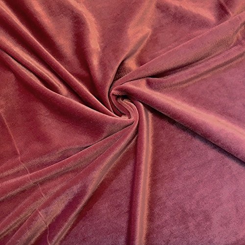 Stretch Velvet Fabric 60'' Wide by the Yard for Sewing Apparel Costumes Craft (1 YARD, Dusty Rose)