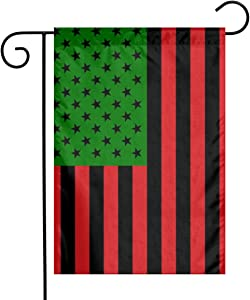 YANGHOME Uas African American Afro Pan Black and Green Red Flax Nylon Burlap Linen Fabric Garden Flag Farmhouse Decorations Mailbox Decor Welcome Sign 12x18 Inch Small Mini Size Double Sided