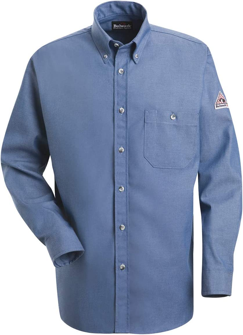 Bulwark Small Light Blue Denim Cotton Long Sleeve Flame Resistant Shirt With Button Closure
