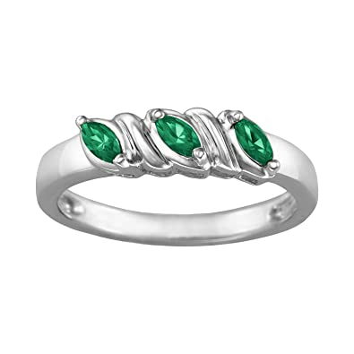 f7e08ff7387821 ArtCarved Celeste Simulated Emerald May Birthstone Ring, Sterling Silver,  Size 10