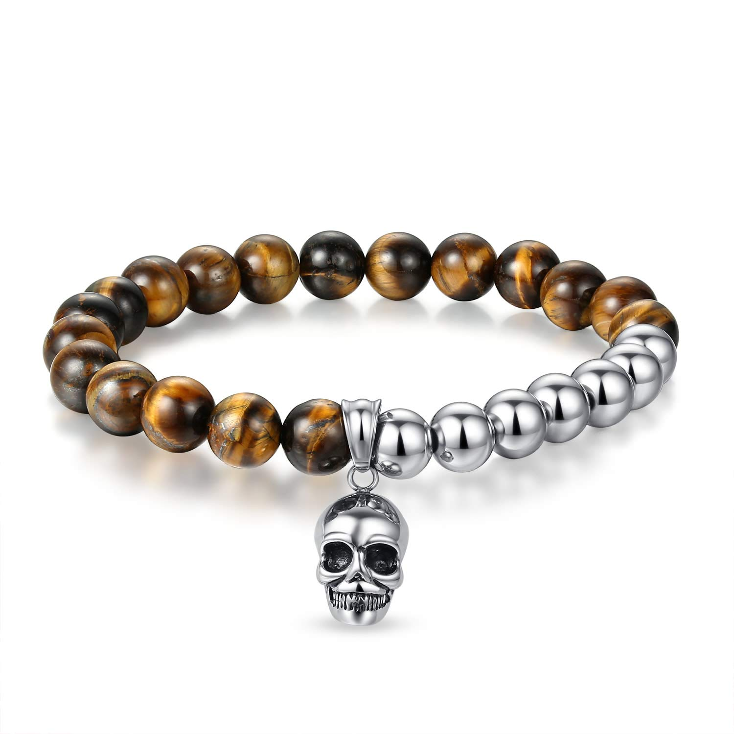 JSstudio Tiger Eye Bracelet, Stress Relief Natural Crystals and Healing Stones Energy Yoga Prayer Bead Bracelet for Men Women Unisex Couples, Viking Hippie Devil Skull Gemtone Mens Anxiety Bracelets