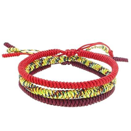 d74a71150846 Pulseras Tibetanas Set de 3 Para Hombre o Mujer Hechas a Mano de Hilo Rojo  Tibetano ...