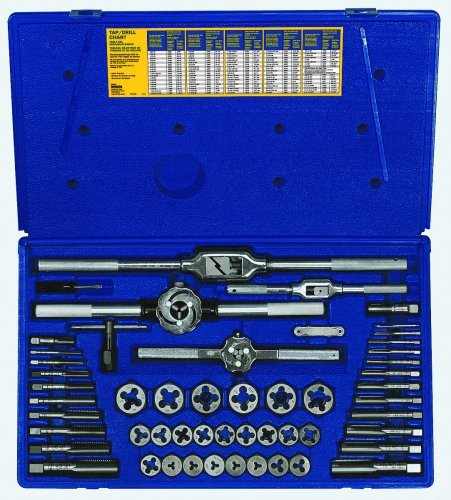 Irwin Industrial Tools 24640 Machine Screw with Fractional Tap and Hex Die Set, 53-Piece ()