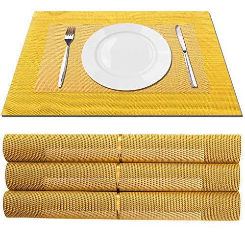 TISSAJ PVC Dining Table Kitchen Placemats( 30cm x 45 cm/11inch x17inch) , 4 Pieces, 1 Set (DESIGN12)