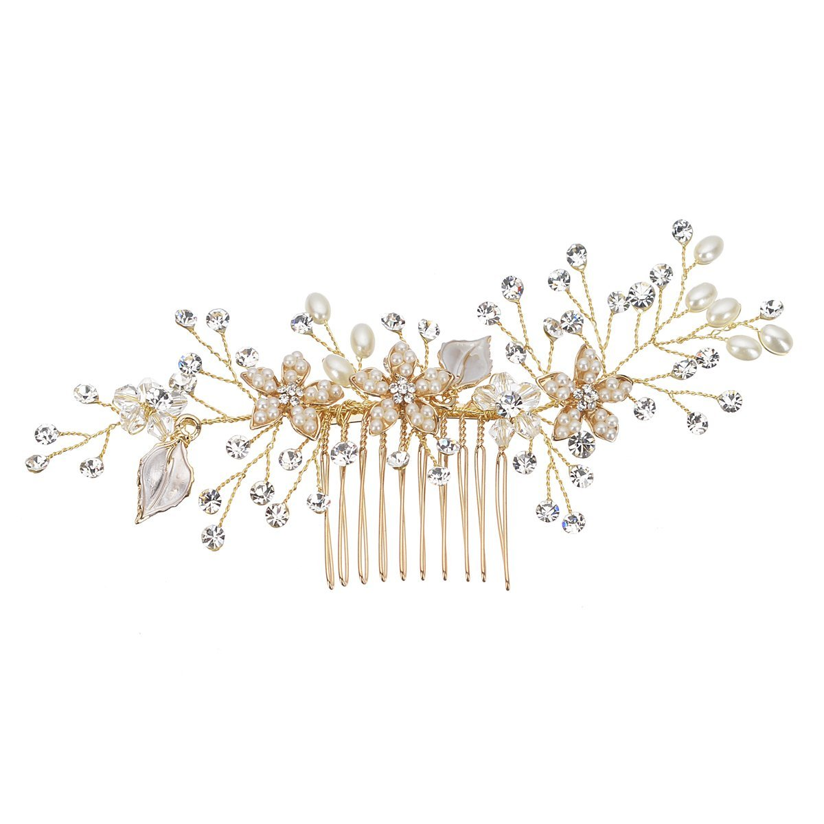 Remedios Vintage Flower Leaf Inspiration Wedding Hair Comb Bridal Headpiece, Silver LWCAFS1609C12