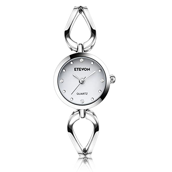 2208693bf510 ETEVON Women s Quartz Silver Wrist Watch with Small Crystal Dial and Hollow  Bracelet Water Resistant